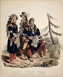 Three Huron-Wyandot chiefs from the Huron reservation (Lourette) now called Wendake in Quebec Canada. After their defeat by the Iroquois many Huron fled to Quebec with their French allies where a reserve was set aside for their use, others fled across Lake Huron and settled in the Ohio region and Midwest.