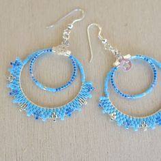 Boucles d'oreilles Sévillane Miyuki turquoise bleu argent