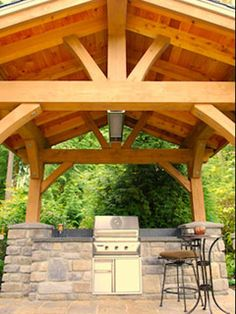 timber frame outdoor kitchen