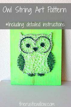 String Art Pattern String Art Kit Owl String by   therusticwillow.com