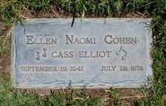Cass Elliot of the Mamas & Papas: Mount Sinai Memorial Park, Los Angeles. This woman's voice MADE the Mamas & Papas. The rest were good; she was transcendent. Cemetery Monuments, Cemetery Headstones, Old Cemeteries, Cemetery Art, Graveyards, Famous Tombstones, Famous Graves, Folk, After Life