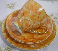 Stunning Vintage Fine Bone China Orange Lustre Pattern Tea Trio Set Jacolina  Made In Poland Cup Saucer Plate World Wide Shipping by TheMewsCottage on Etsy