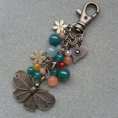 Butterfly Bag Charm With Semi Precious Gemstones Bronze Tone