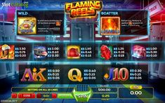 Paytable. Flaming Reels (Video Slot from GameArt)
