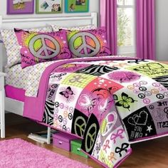 For Deidra's room...7pc Girl Pink Yellow Purple Black Heart Love Peace Sign Butterfly Zebra Full Comforter Set (7pc Bed in a Bag)