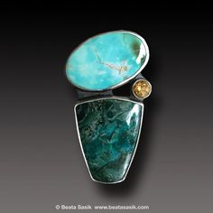 Chrysocolla Royston Turquoise ring Sterling Silver and by xaosart