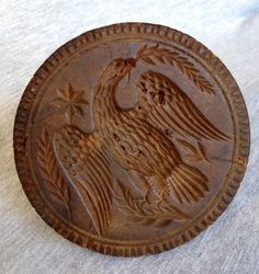 3.75in wide. Primitive Americana: Antique Folk Art Carved Wooden Butter Mold w/ Eagle, 19thC. #Americana #Unknown possibly Lancaster County PA