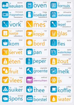 Dutch vocabulary sticker : keuken