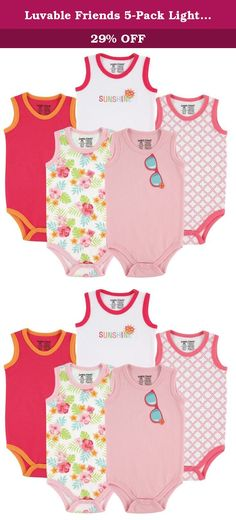 Luvable Friends 5-Pack Lightweight Sleeveless Bodysuits, Girl Sunglasses, 6-9 Months. Our basic Luvable Friends 5-Pack Sleeveless Bodysuits are made of a soft and lightweight fabric to be gentle against baby's sensitive skin. Easy closure crotch makes for easy dressing. The seasonal design helps to keep baby cool and comfortable in warm temperatures! Perfect for wearing during the summer months or under clothes as undershirt in the cooler months!.