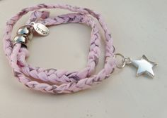 Pink star liberty print wrap bracelet with star charm by NokoDesigns
