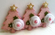 Sweet Christmas Tree Embellishments  Pink Rose by KindrasCreations