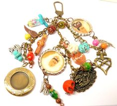 One of a Kind Artisan Handcrafted Day of the Dead, Frida Kahlo Inspired Key Chain Charm Necklace. This Beautiful Mixed Metals Necklace is Loaded with Tons of Unique Charms and Beads. #3 in My New Limited Edition Frida Kahlo Day of the Dead 2013 Jewelry Series by MelancholyMind, $39.99