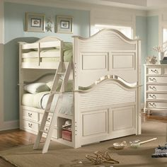 for when the girls are a little older? Full Size Bunk Beds, White Bunk Beds, Bunk Beds With Storage, Twin Bunk Beds, Bed Storage, Kid Beds, Loft Beds, White Wood Furniture, Bedroom Furniture Sets