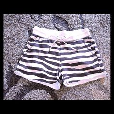 SOLD in Bundle @cupofjoe Michael Kors Ultra comfy, fleece lined shorts!  They are a very pale dove/gray with black zebra. Excellent, like new condition...worn/washed once, no rips, stains or tears Includes a two wrap pink turquoise leather wrap bracelet. Michael Kors Shorts