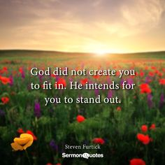God did not create you to fit in. He intends for you to stand out. Steven Furtick