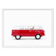 Leslee Mitchell Red Volkswagen Van Photographs (220 AUD) ❤ liked on Polyvore featuring home, home decor, wall art, car wall art, red home decor, red wall art, photo wall art and red home accessories
