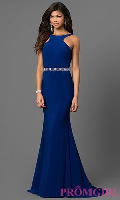 Long Open Back Prom Dress with a Beaded Waist