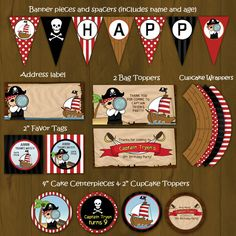 Pirate with Ship Birthday Party Package por SplashboxPrintables