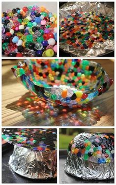 Pony Bead Bowl Items Needed:Tin FoilPony BeadsOven Safe BowlCake PanCookie Sheet Preheat oven to 400 degrees Cover the inside of a cake pan ...