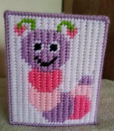Plastic Canvas Tissue Boxes, Plastic Canvas Crafts, Plastic Canvas Patterns, Bugs, Rose Basket, Plastic Canvas Christmas, Tissue Box Covers, Pink Purple, Burlap
