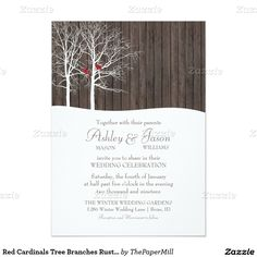 Red Cardinals Tree Branches Rustic Winter Wedding 5x7 Paper Invitation Card