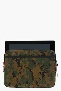 RAG & BONE Brown Nylon Camo Print iPad Case.