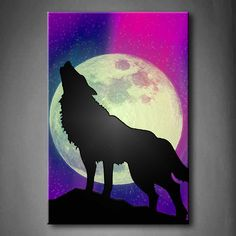 Purple A Wolf Howling On A Rock With The Northern Lights Showing ...