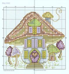 """""""No Place Like Home Chart"""" (May) from """"Joan Elliott's 2013 Stitcher's Diary"""" from """"The World of Cross Stitching"""" magazine. Apologies for the thick line down the centre, but the chart straddles two page of a not very flexible hardback book. The main cross stitches are worked in 2 strands of stranded cotton and the chart lists the colour numbers for Anchor, DMC and Madeira threads. On 14ct canvas the design measures about 12cm/4.75"""" square."""