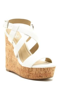 Crisscross Cork Heel Sandal by Carrini on @HauteLook