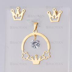 juego dije con aretes de corona imperial con cristal de dorado en acero- SSSTG954666