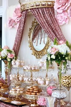 Pink and gold dessert table Pink and gold Quinceañera dessert table styled by Candy Table Decorations, Sweet 16 Party Decorations, Quince Decorations, Quinceanera Decorations, Quinceanera Party, Birthday Party Decorations, Wedding Decorations, Sweet 16 Centerpieces, Gold Cake Stand