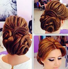 """Beautiful updo by Artak; Justin called it a """"Disney princess"""" look. Can't wait for Artak to style my hair for our engagement party!!"""
