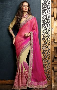 Picture of Charming Buttercream and Pink Color Saree