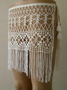 Cream Color, crochet cover up, crochet skirt, women pareo, wrap cover mini skirt. Crochet Skirt Outfit, Crochet Bodycon Dresses, Black Crochet Dress, Crochet Skirts, Crochet Clothes, Crochet Lace, Crochet Bikini, Crochet Capas, Crochet Bathing Suits