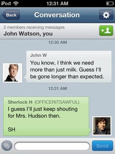 Sherlock and John texting <3