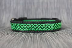 Green Celtic Adjustable Dog Collar  Sizes Small to by TopPetz