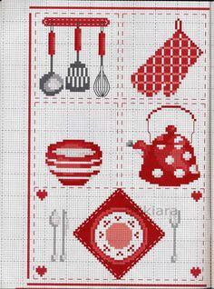 Gallery.ru / Фото #3 - Красная посуда - mila010154 Cross Stitch Kitchen, Mini Cross Stitch, Beaded Cross Stitch, Cross Stitch Borders, Cross Stitching, Cross Stitch Embroidery, Cross Stitch Patterns, Crochet Ripple Blanket, Ladder Stitch