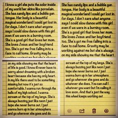 John Mayer lyrics I messed around with and sent to my girlfriend. I know a girl. She puts the colors inside of my world. John Mayer Lyrics, Candy Lips, Favorite Quotes, Favorite Things, Song Lyrics, Bubbles, Songs, World, Music