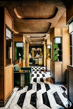 The Renovation of Paris's Hotel de Crillon Photos | Architectural Digest stone floor pattern hallway