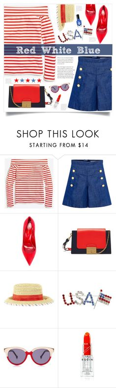 """""""Red White Blue"""" by mmk2k on Polyvore featuring J.Crew, CO, Sergio Rossi, Mulberry, BCBGeneration, Preen, Rodin, Summer, holiday and fourthofjuly"""