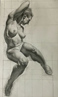 Sabin Howard, seated frontal nude female muscular figure anatomy drawing. NSFW