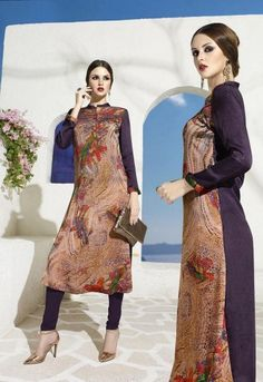 Multicolor Bembarg Georgette Fabric Party Wear Printed Kurti-35697