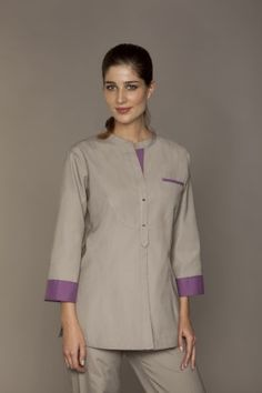Doctor Assistant, Housekeeping Uniform, Spa Uniform, Scrubs Outfit, Uniform Design, Facon, Violet, Taupe, Tunic Tops