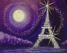 Jewel of Paris Wed Aug 31, 2016 7pm start time!!!! #moon #eiffeltower #stars #purple #shine #bright #love #amore #creative #paint #painting #JustineC20 for $20 off! Www.paintnite.com