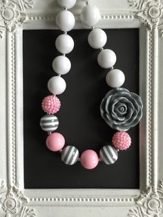 White, pink and gray striped bubblegum necklace by LilchicboutiqueLIC on Etsy