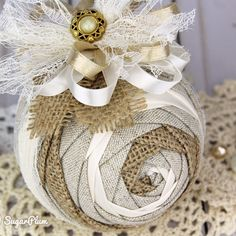 Shabby Chic Christmas Ornament using the Iris pattern by SugarPlum -- a no-sew quilted ornament