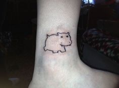 e4e2e248c Small cute simple hippo tattoo on ankle - Tattooimages.biz Weird Tattoos, Small  Tattoos