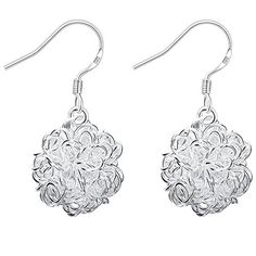 * Penny Deals * - BOHG Jewelry Womens Sterling Silver Plated Fashion Cute Personality Network Ball Drop Dangle Earrings 925 -- You can find more details by visiting the image link.