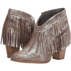 Ariat Unbridled Layla (Metallic) Cowboy Boots ($126) ❤ liked on Polyvore featuring shoes, boots, ankle boots, fringe cowboy boots, suede bootie, short suede boots and fringe cowgirl boots