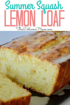 Lemon Summer Squash bread with a lemon honey glaze is the perfect way to use up yellow squash. Super moist and tasty, this is just like zucchini bread tangy lemon finish. #lemonsummersquash #yellowsquash